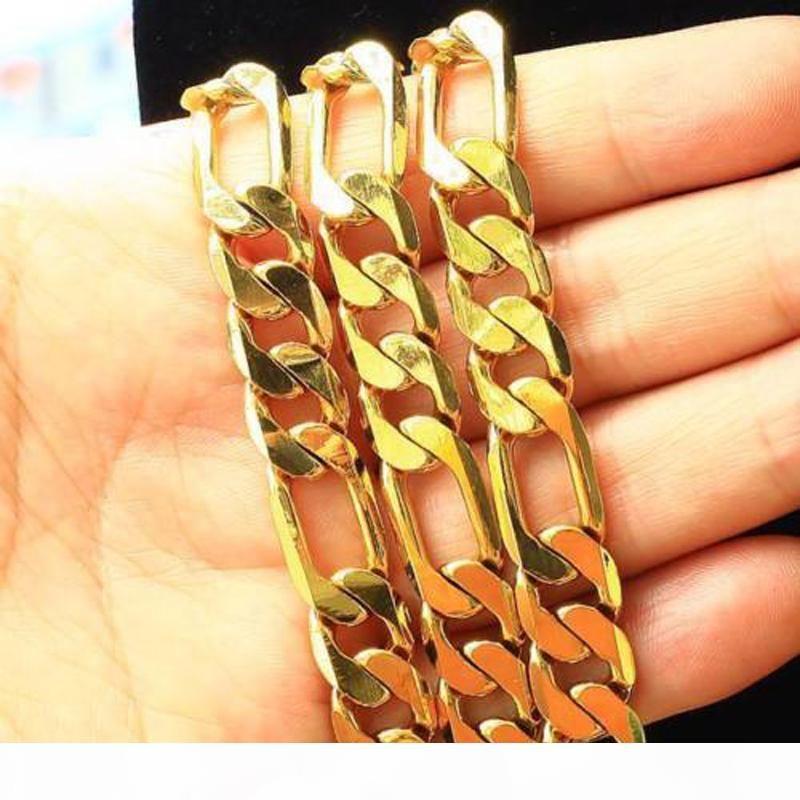 """pesante 12MM oro giallo 18K riempita solida Bracelet + Necklace 23.6"""" catena Set regalo di compleanno da uomo"""