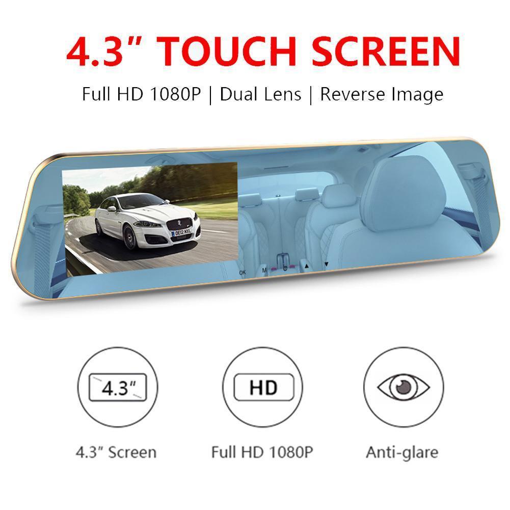 A10 voiture dVR 4,3 pouces rétroviseur enregistreur vidéo Full HD 1080P Avec Dash caméra de recul Caméras double objectif Registraire automatique