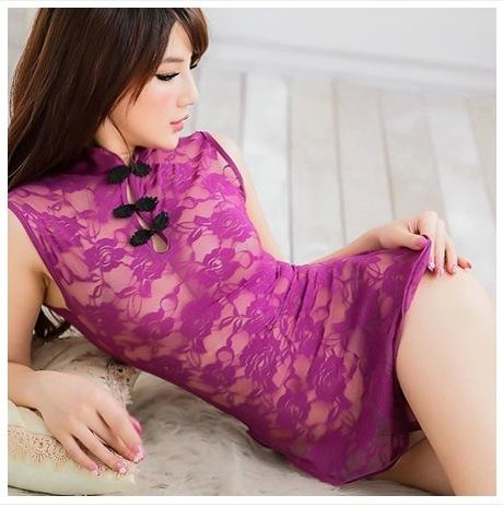 9s2ok 여름 한국 스타일의 여성의 투명 레이스 자수 치파오 섹시한 나이트 클럽 슬림 자수 레이스 앞치마 앞치마 엉덩이 덮인 짧은
