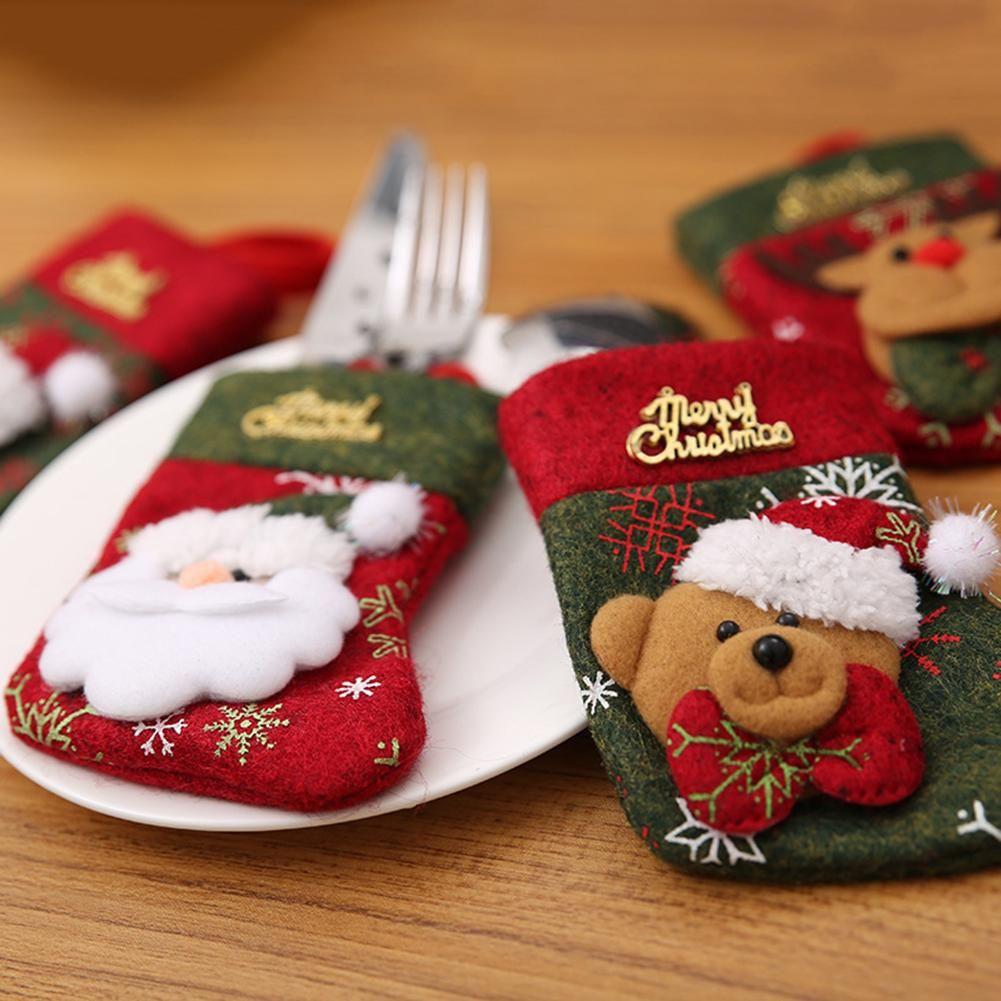 Christmas Santa Elk Snowman Spoon posate bagagli Sock Borsa Xmas Party Dinner Decoration