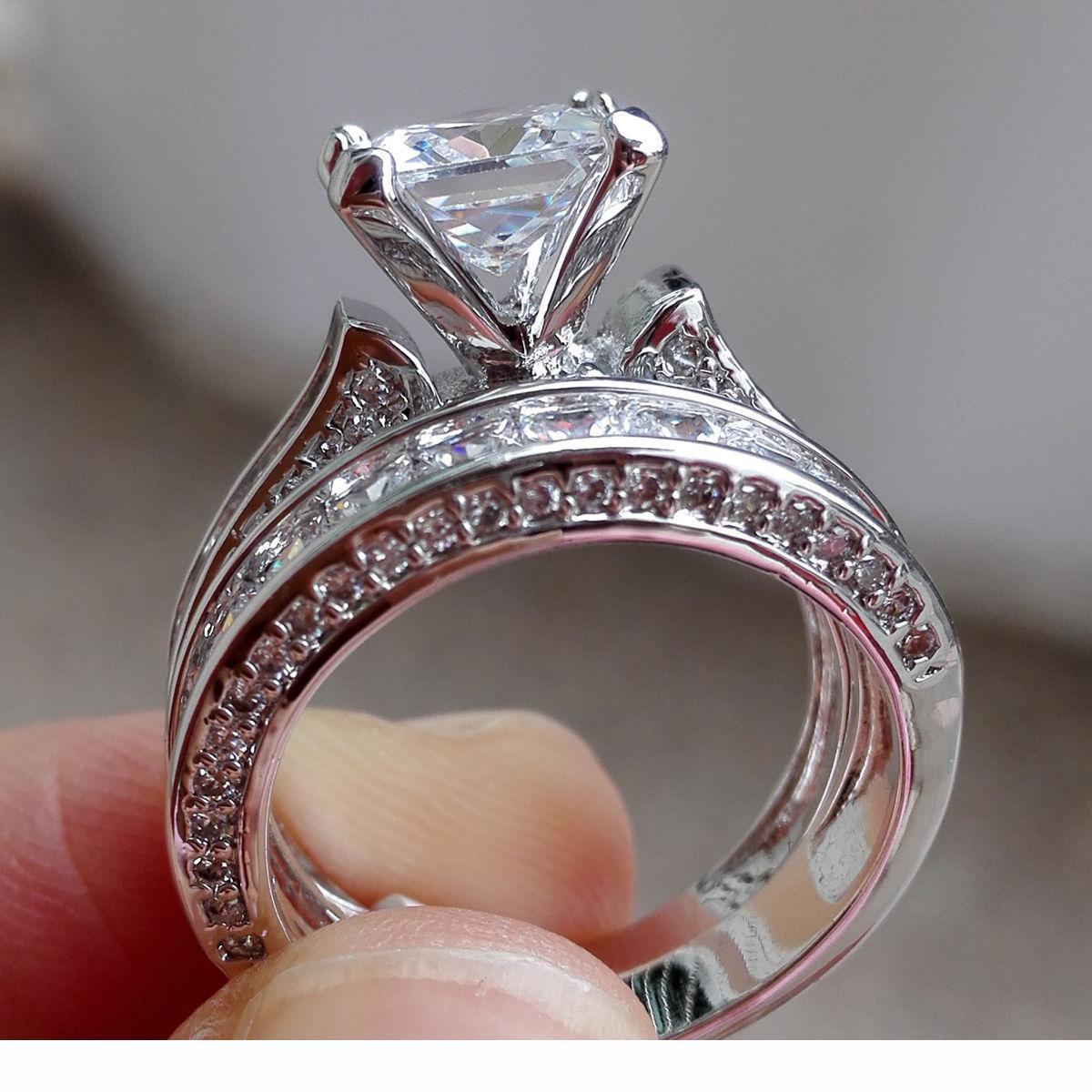 فيكتوريا Wieck مجوهرات الفاخرة الأميرة قطع 7.5MM الأبيض الياقوت 925 مقلد الماس الزفاف حفلة خطوبة النساء خواتم حجم 5-11