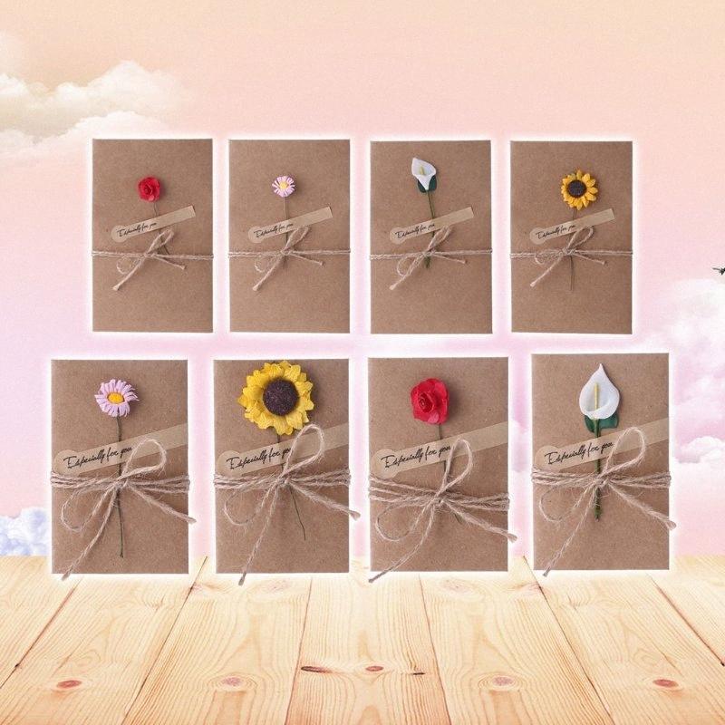 Retro Kraft Paper Artificial Flower Greeting Card DIY Wish Invitation Envelope PChc#
