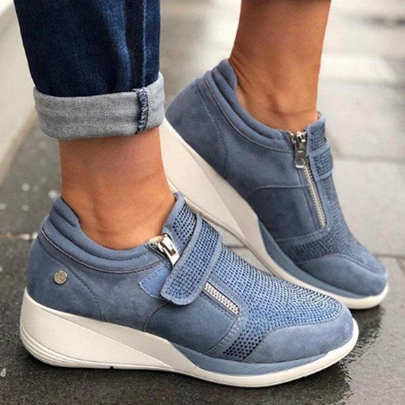 2020 2020 Kadınlar Sneakers Flock Yüksek topuk Lady Günlük Ayakkabılar Boş Platformu Ayakkabı Nefes Yükseklik Artırma ADXM #