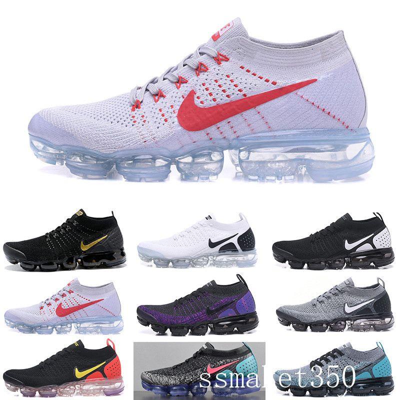 Nike Vapormax flyknit air max 2019 Tejer 2.0 Fly 1.0 Hombres Mujeres BHM Orbit Red Metallic Oro Triple Negro Diseñador Ejecución de las zapatillas de deporte Tamaño de los zapatos