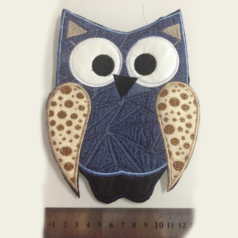 10 pieces iron on Owl clothes patches accessories patch fur coat blue denim patch new handmade diy textile accessories patch sewing on dress