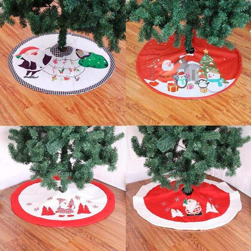 Нового 90сма Burlap Xmas Tree Skirt Ковер Вышивка Украшение для дома Мультфильм Санта-Клаус Xmas Tree Ковер Нового года 2020