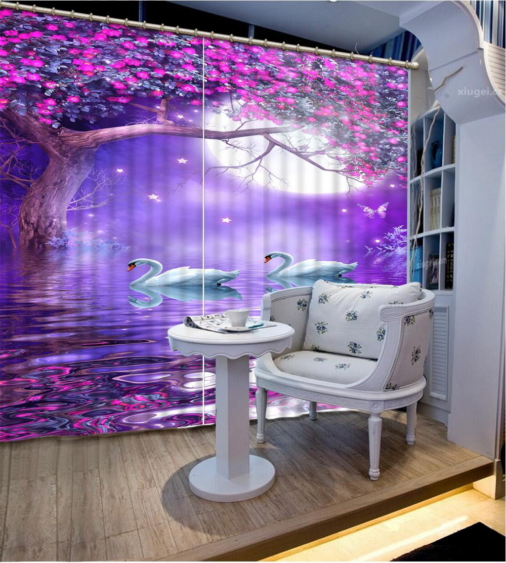 Fashion Home Decor 3D Curtains Beautiful Swan Lake flowers Living Room Office Hotel Blackout Curtain Fabric