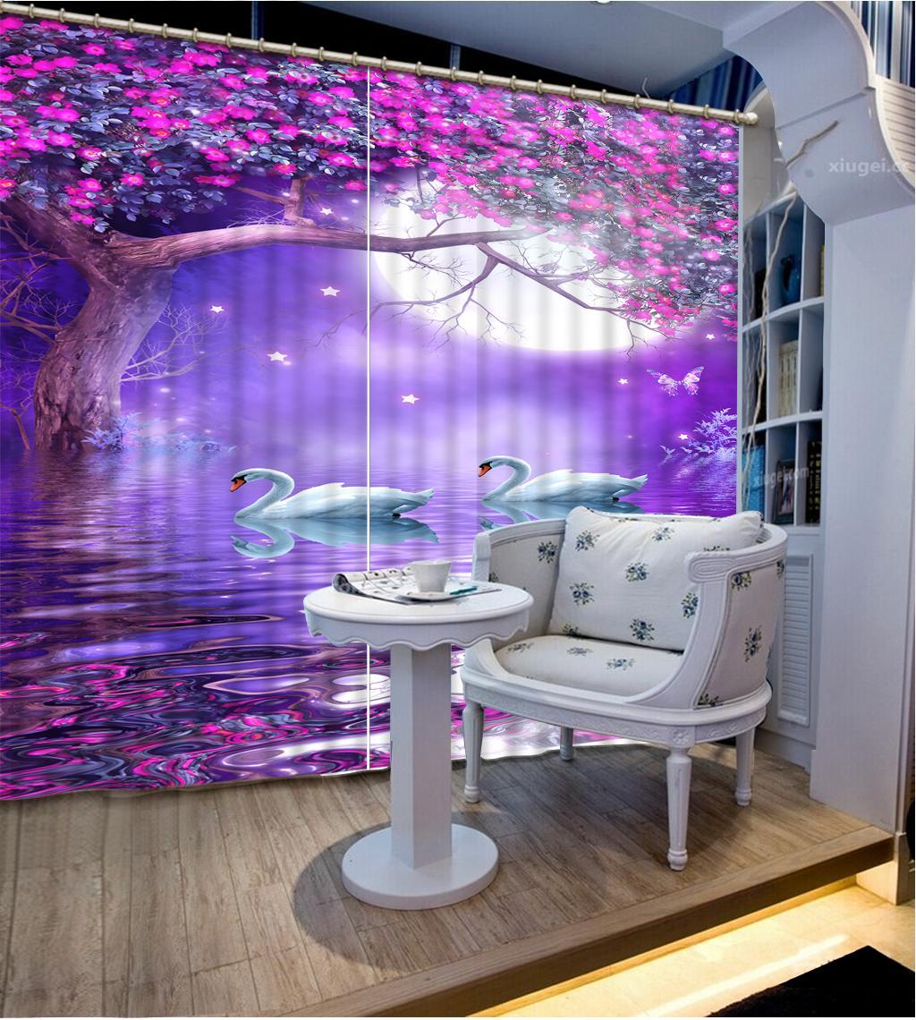 Moda Decoración 3D Cortinas hermosas flores Swan Lake Sala hotel de la oficina del apagón tela de la cortina