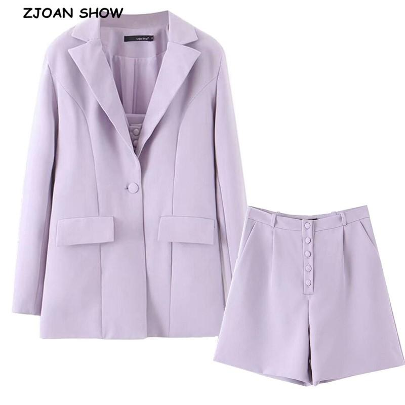 Два куска платье 2021 парень стиль одна кнопка MID длинные женщин Blazer высокая талия свободные шорты короткие штаны рукава костюмы 3 штуки набор