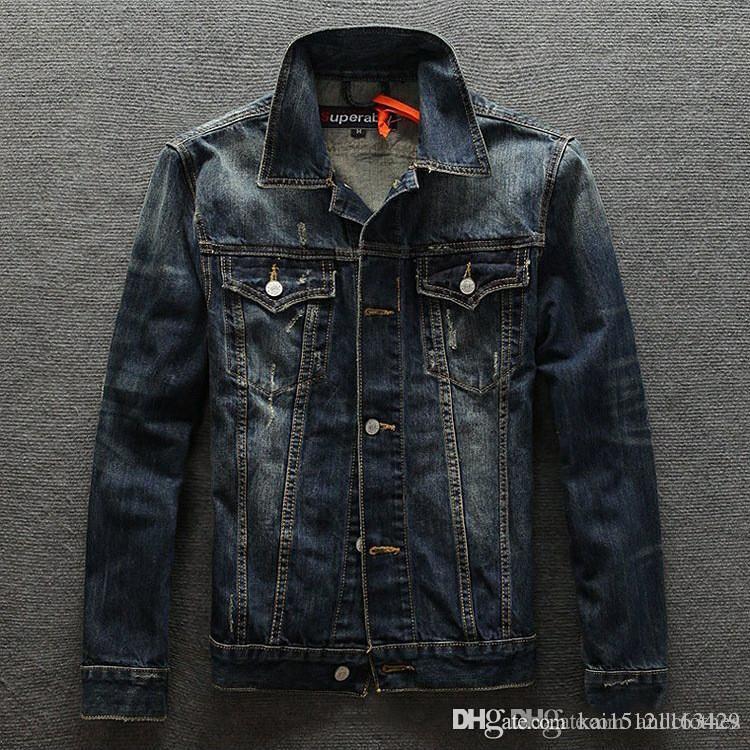 Chaqueta de mezclilla para hombres Luxuy Marca chaqueta del diseñador de moda de la impresión de Jean Escudo de cuello redondo para hombre Ropa 2019 marea de la moda de alta calidad