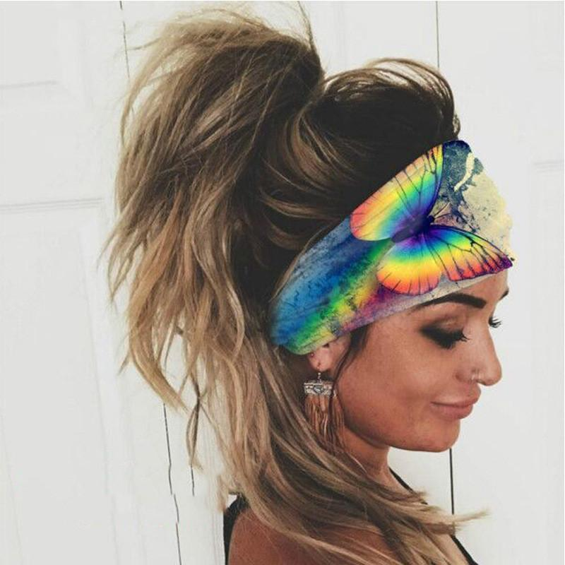 10pcs/Lot Europe New Colorful Sports Headbands Elastic Absorption Width Hair Band For Women Polyester Cool Hair Jewelry Accessories