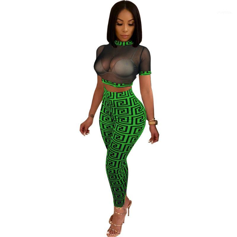Sexy Mesh Tracksuit Summer Two Piece Set 2018 See Trough Crop Tops And Pant Suits Casual Women Party outfits Geometric 2 PCS Set1