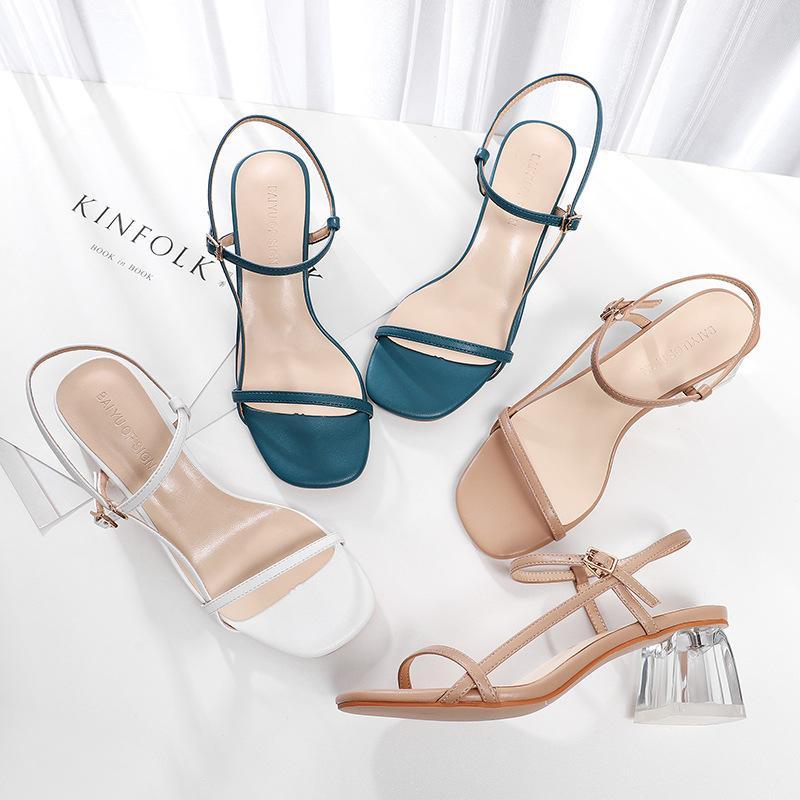 2020 scarpe estive donna Sandali solida trasparente cristallo cinturino alla caviglia Piazza pompe degli alti talloni 5.5CM pantofole sexy di cerimonia