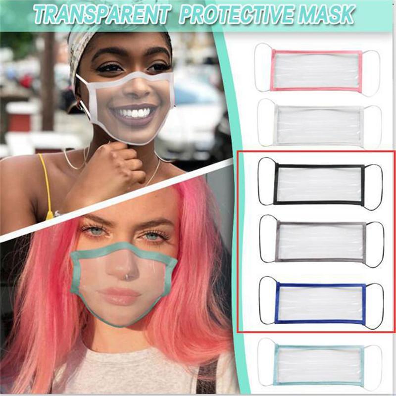 Прозрачная маска для лица Мужчины Женщины Взрослые Рот Обложка моющийся многоразовые Маски против пыли пылезащитный ушной Clear глухонемой Дизайнерские маски