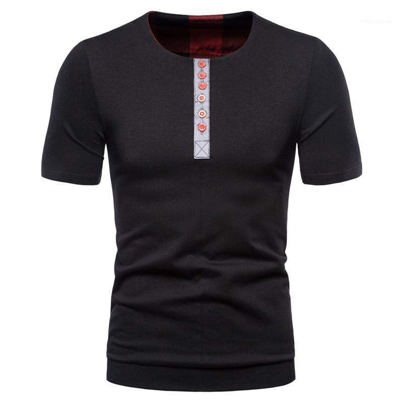 Getäfelten Farbe beiläufige Mann-Kleidung-Sommer-Männer-T-Shirts Patchwork Homme Tops mit Knopf Kurzarmshirt mit runden Ausschnitt