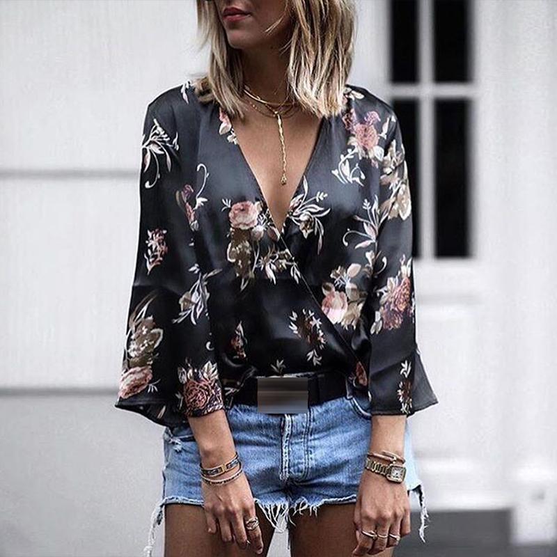 Duzeala Women Ladies Clothing Fashion Loose Cotton Long Sleeve Print Blouses Deep V Neck Summer Blouse Tops Women Casual Shirts Y200622