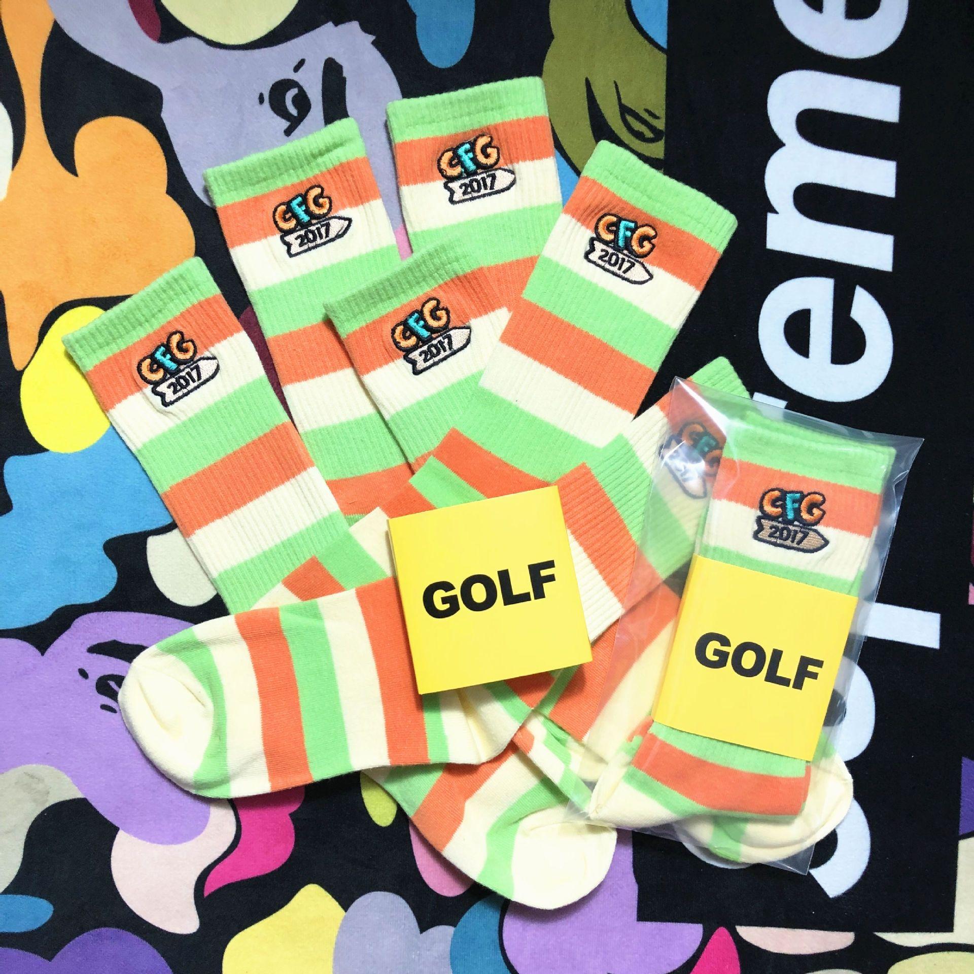 medias bordadas Moda HIN7a medias festival de música golfWANG marca bordado limita algodón puro elegante estilo hip hop Calle amor