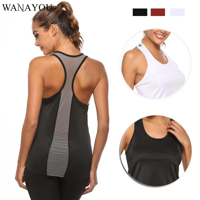 di WANAYOU mesh traspirante donne che gestiscono Vest, Quick Dry Jogging donne Canotta Fitness Principali, Correre Sport T-shirt Gym Vest