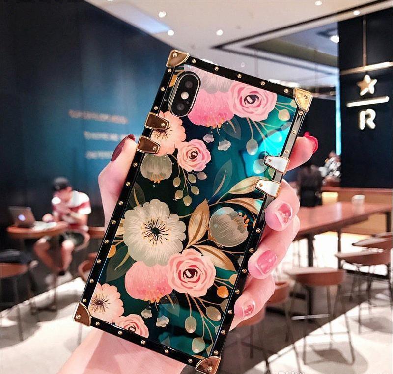 Para iphone11 11Pro 11 Pro Max X XR XS 11 Luxury Blue Ray Flor telefone silicone quadrado para samsung S20 S10 Nota 10 Pro cover