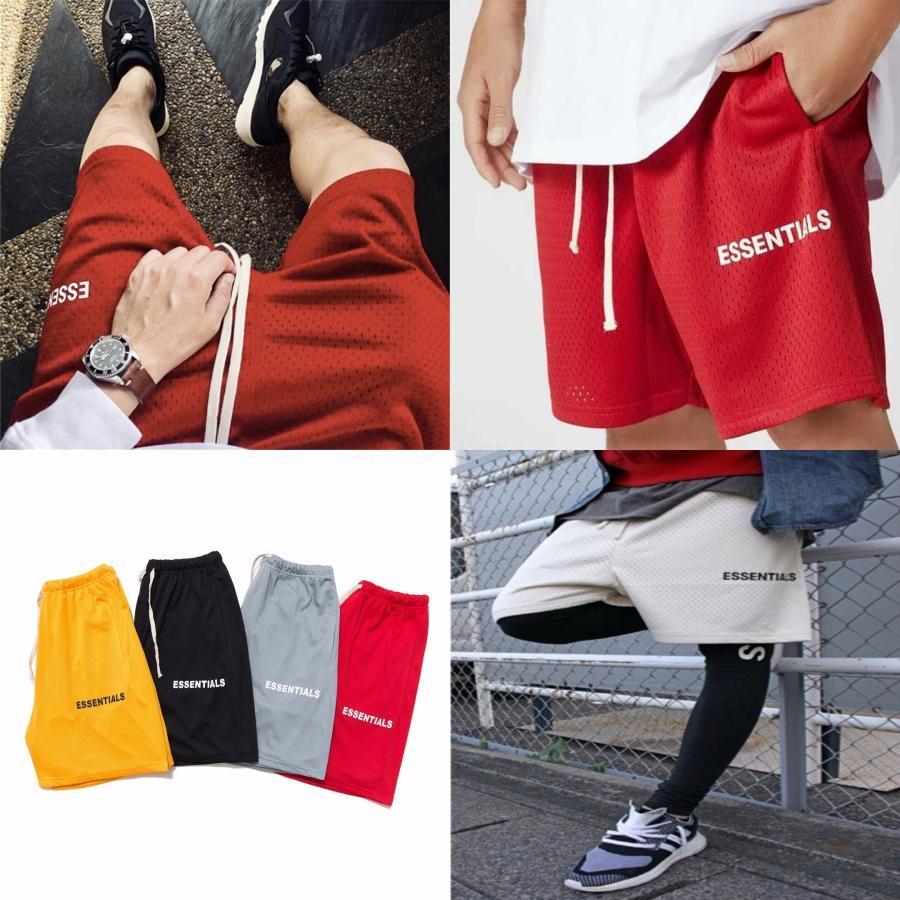 2020 Основы мужские шорты Tide Марка Ice Шелковый брюки лето шлифе Мода Вышивка Пять Очки Свободные шорты Trend Повседневный # 427