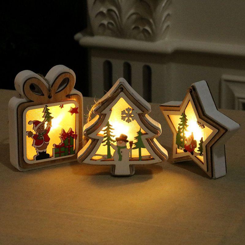 3D Ahşap Çerçeve Noel Aydınlatma kolye Dekoratif Gece Işığı Noel Noel Süsler Bayram tatili Dekor