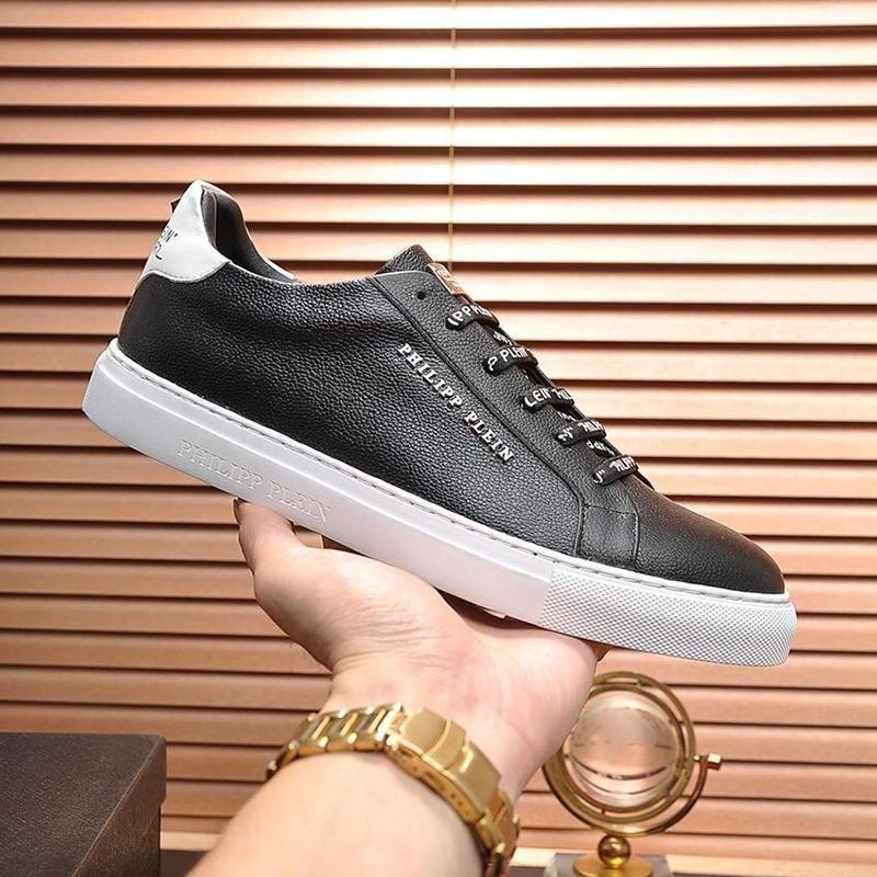 Yüksek Kaliteli Erkek Ayakkabı Moda Flats Platformu Lo -Top Sneakers ile Lamine Deri Lüks Tasarım Chaussures Hommes Erkek Tenis Styl dökün
