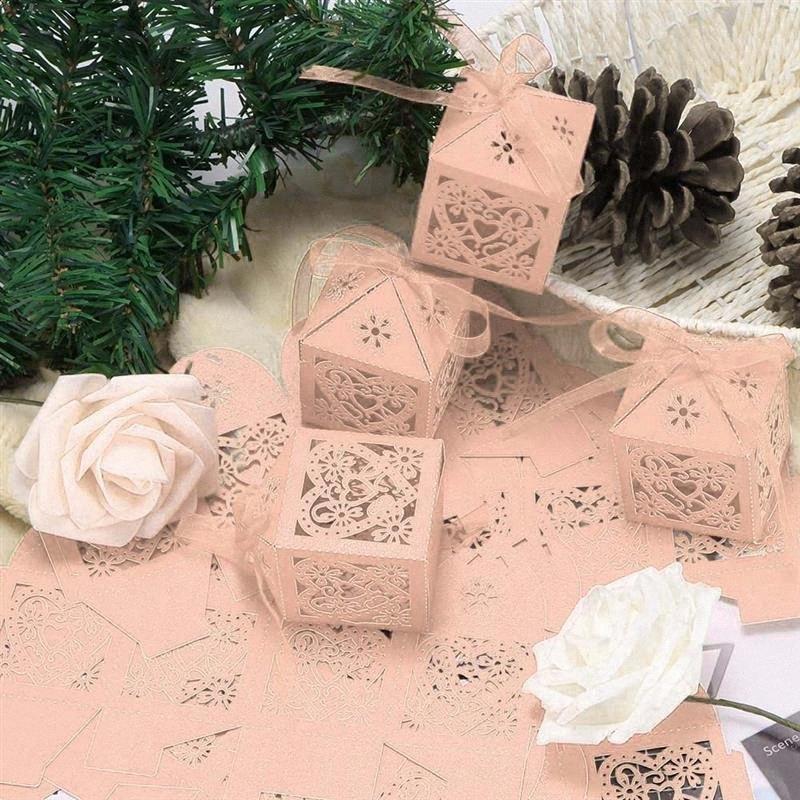 Bolsas 100pcs caja del caramelo de corte láser hueco del carro del regalo cajas del caramelo con la cinta bebé ducha de la boda Favores Fiesta jQrJ #
