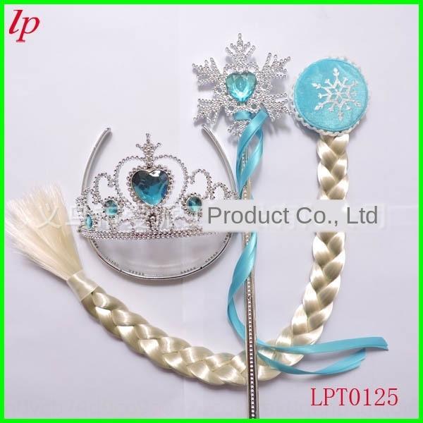 Corona azul nieve peluca cinta de la cinta palo ribbonflake peluca princesa Aisha infantil trenza conjunto de hielo y nieve borde de la corona de tres piezas conjunto
