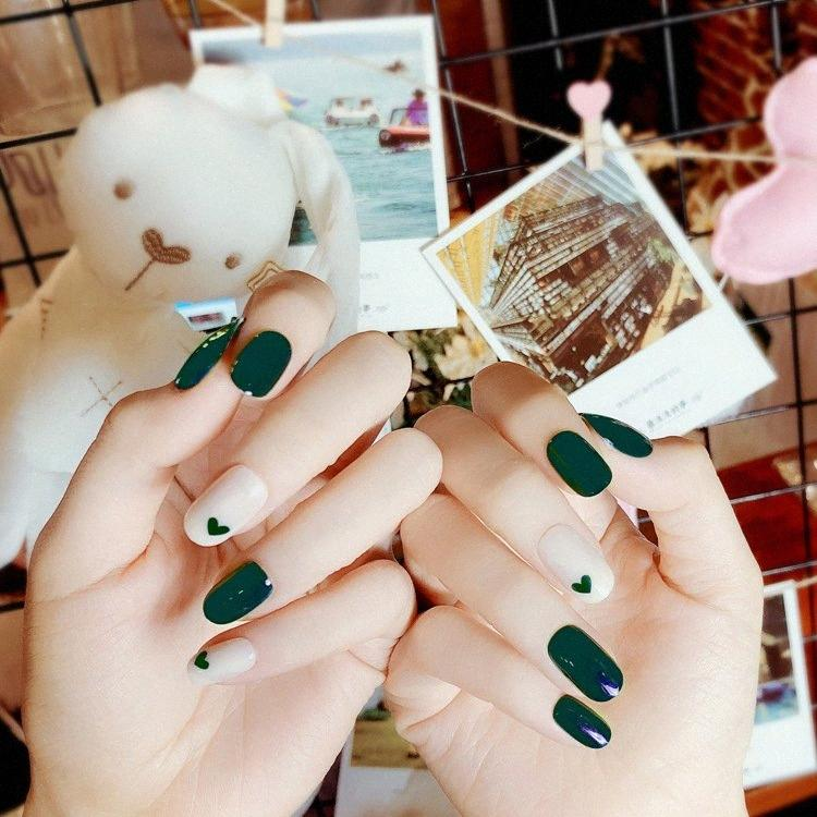 24pcs full false nails art products dark green peach heart of good quality phototherapy armour (Contains no glue) pxvo#
