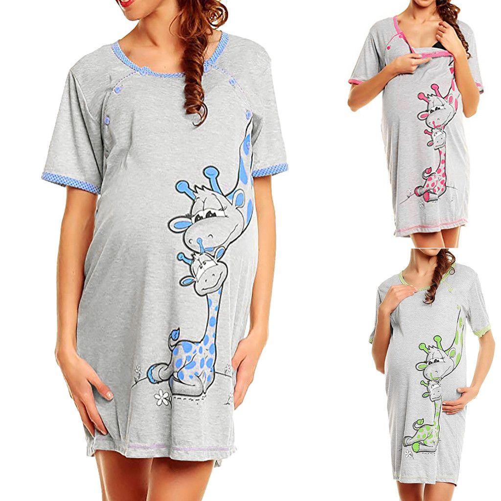 Maternity Dress Women Cartoon Print Short sleeve Nightdress cotton Pregnant casual clothes summer Maternity Dress