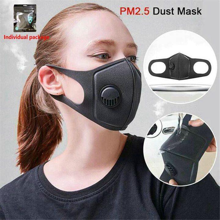 Дыхательная клапана Губка маска РМ2,5 многоразового Anti-Dust Анти Загрязнения Роты маски Washable Washable пыл Маска для лица 100шта