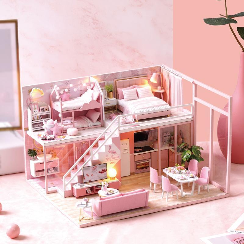 DIY Miniature Doll House Furniture 3D Wooden Dollhouse Furniture Kit Casa Music Led Light Handmade Toys For Children Gifts L-027 MX200414