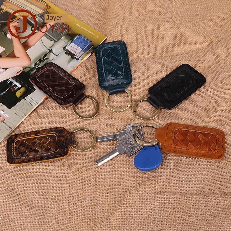 Hecho a mano de dirección de cuero tejida regalo de los accesorios de recuerdos clave de la rueda de accesorios de piel de vaca clave cadena creativos pequeños regalos