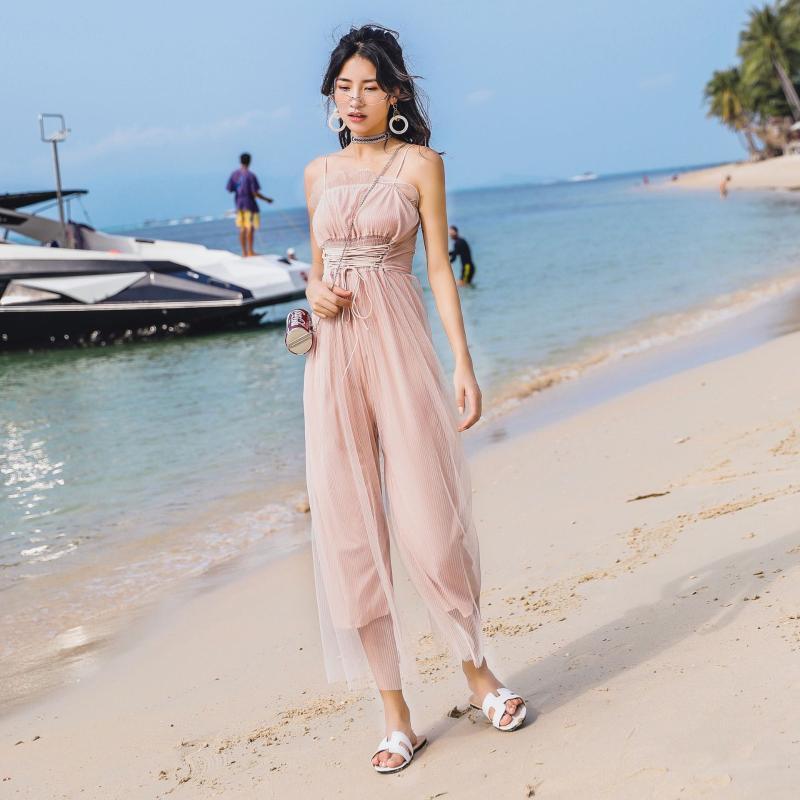 Mulheres Vestidos Spaghetti Praia Tocar Suit cordão Ruffles guarnição One Piece Outfit sem alças Mulheres Vestidos de Slim férias