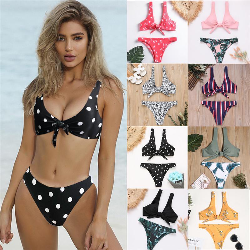 Bikini 2019 atado luva Frente Mulheres Sexy V pescoço curto Laço Push Up Bikini Set Swim Maiô Swimsuit Thong Swimwear Mulheres