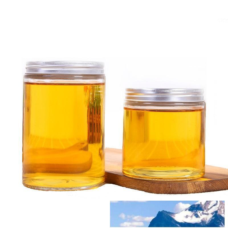 17 oz Empty Clear Glass Jars with Brushed Aluminum Lids for Candy Honey Tea and Food Container