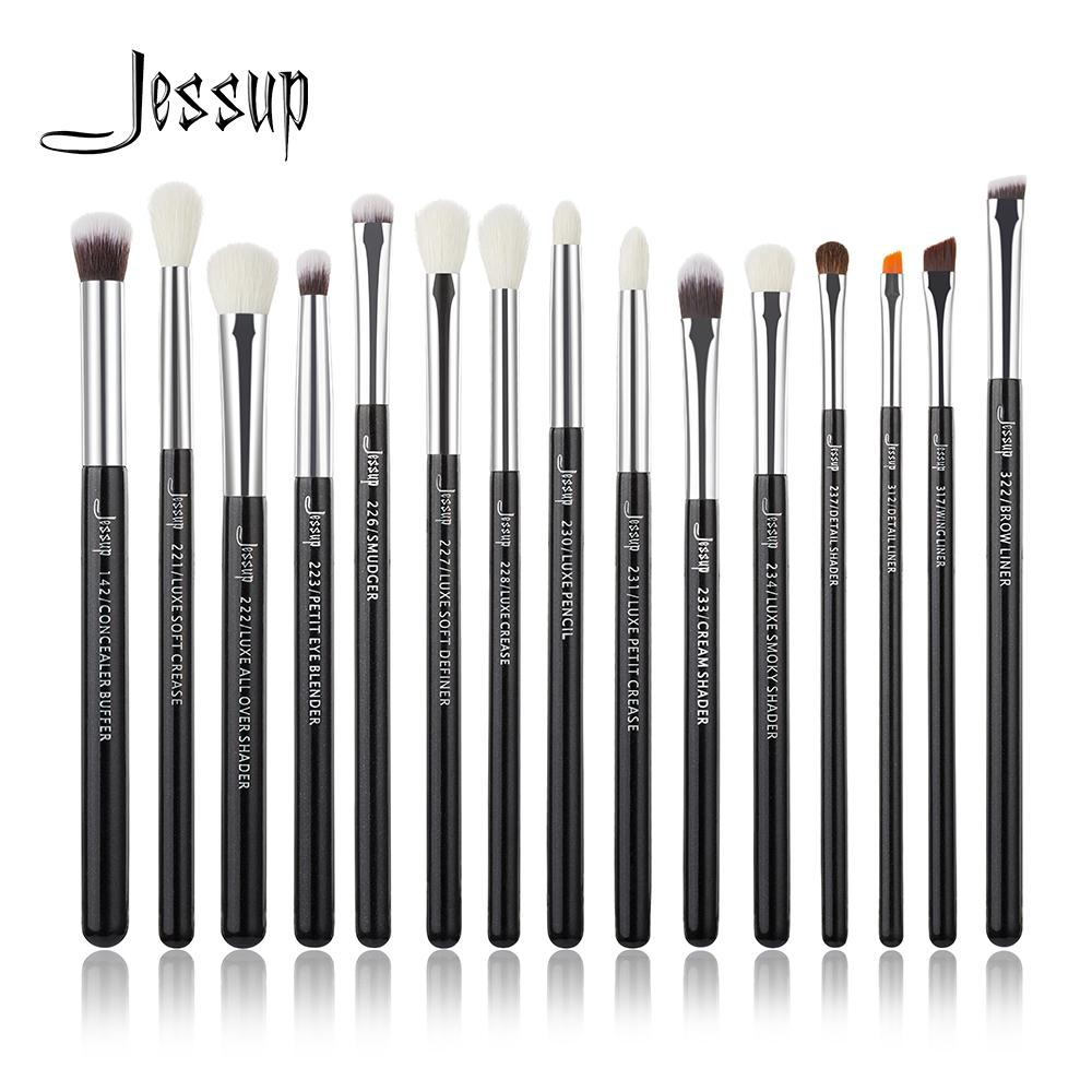 Jessup Make up Brushes Set Brush Makeup Brush 15pcs Black/Silver Eye Liner Shader Natural-synthetic hair CX200717