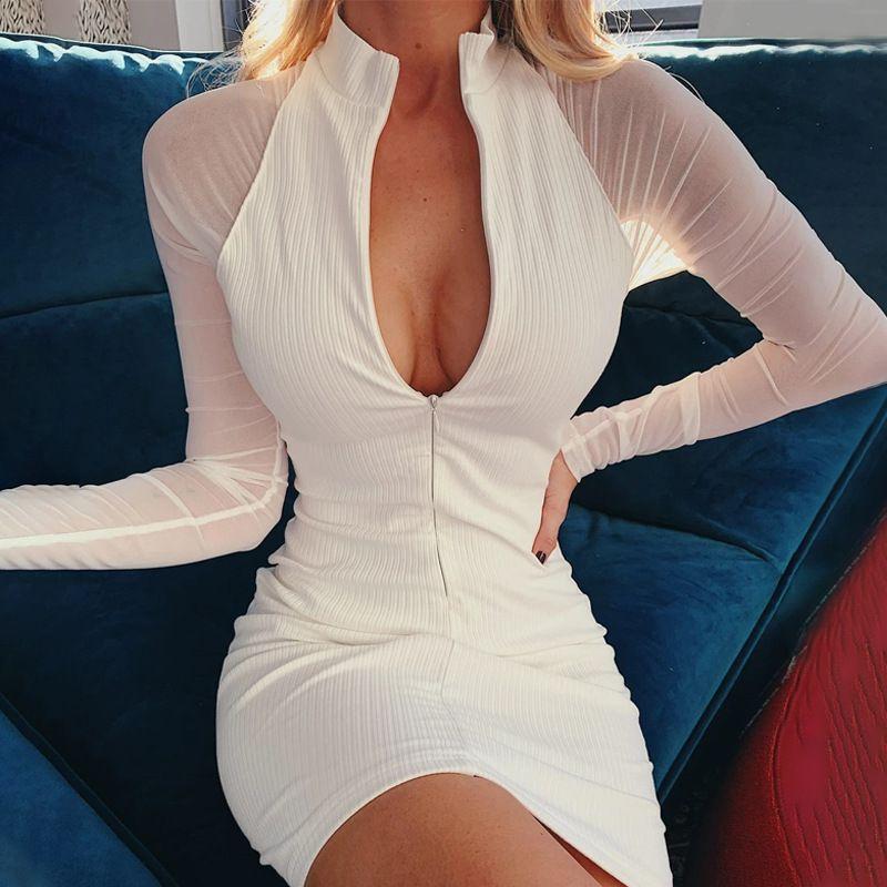 Платья для беременных 2021 осень зима женщин повседневная вязать оболочки стойки воротник женские дамы твердые молния V шеи кнопка длинные сетки рукава Bodycon платье