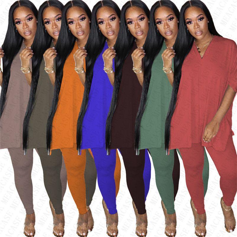 Sommer-Frauen Split Übergrößen T-Shirt + Leeggings Hosen Zweiteilige Anzug Fashion Solid Color Outfit Club Party beiläufige Klagen S-3XL D7804