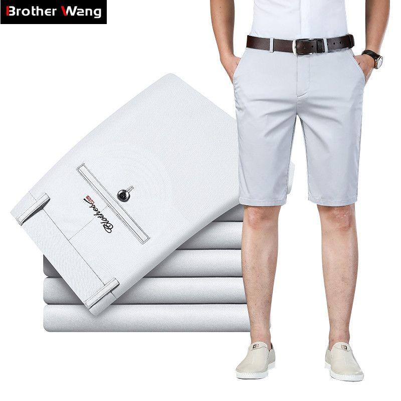 6 Цвет Повседневный шорты Мужчины 2020 Летний Новый Straight Упругие Бизнес Мода Тонкий Короткие штаны Мужчины Марка Хаки Бежевый Navy CX200731