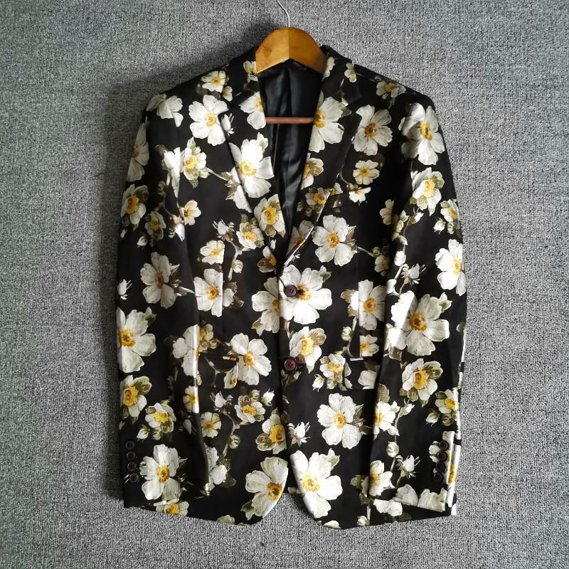 Luxury Soft Suede Floral Blazer Men Hombre Masculino Flower Blazer For Mens Chaqueta Fall Winter Double Vent Suit Jacket Outwear