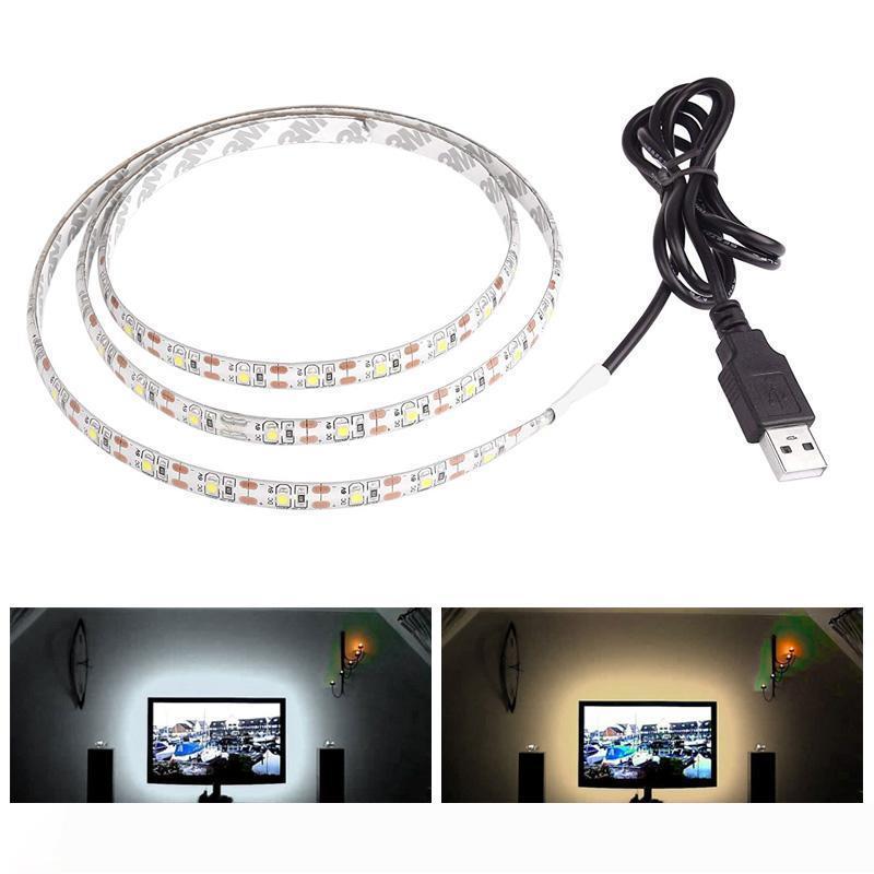 5V 50CM 1M 2M 3M 4M 5M USB كابل الطاقة LED قطاع مصباح ضوء مصلحة الارصاد الجوية 3528 مكتب ديكور عيد الميلاد مصباح الشريط على خلفية TV إضاءة للماء