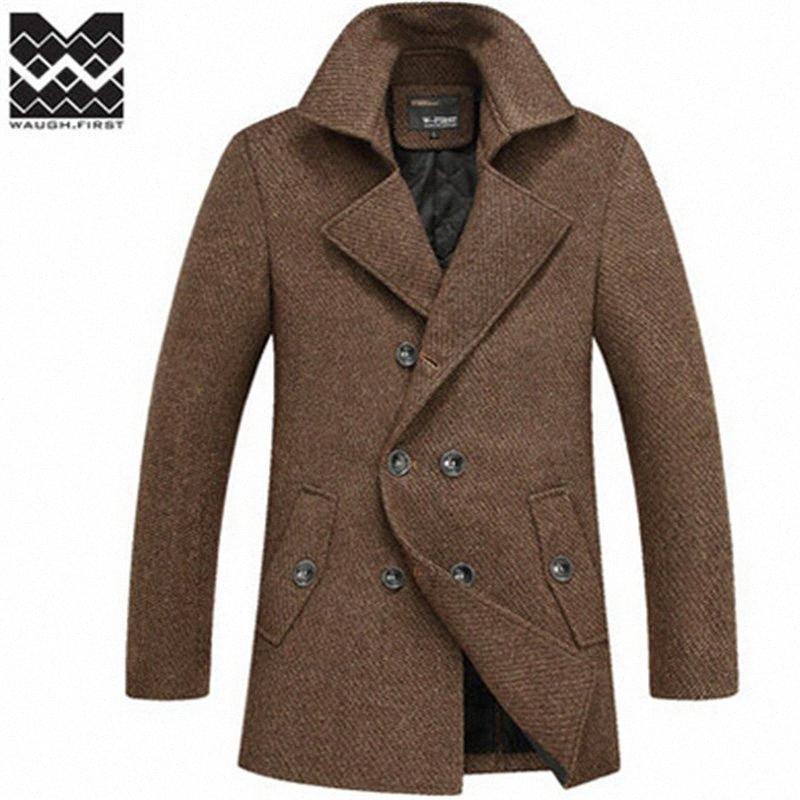 Herbst-2015 Winter-berühmte Marke Wollmantel Mensjacke Mantel Langer Graben plus Größe Oberbekleidung Mäntel Männer Wolle-Mischungen Soob # dropship