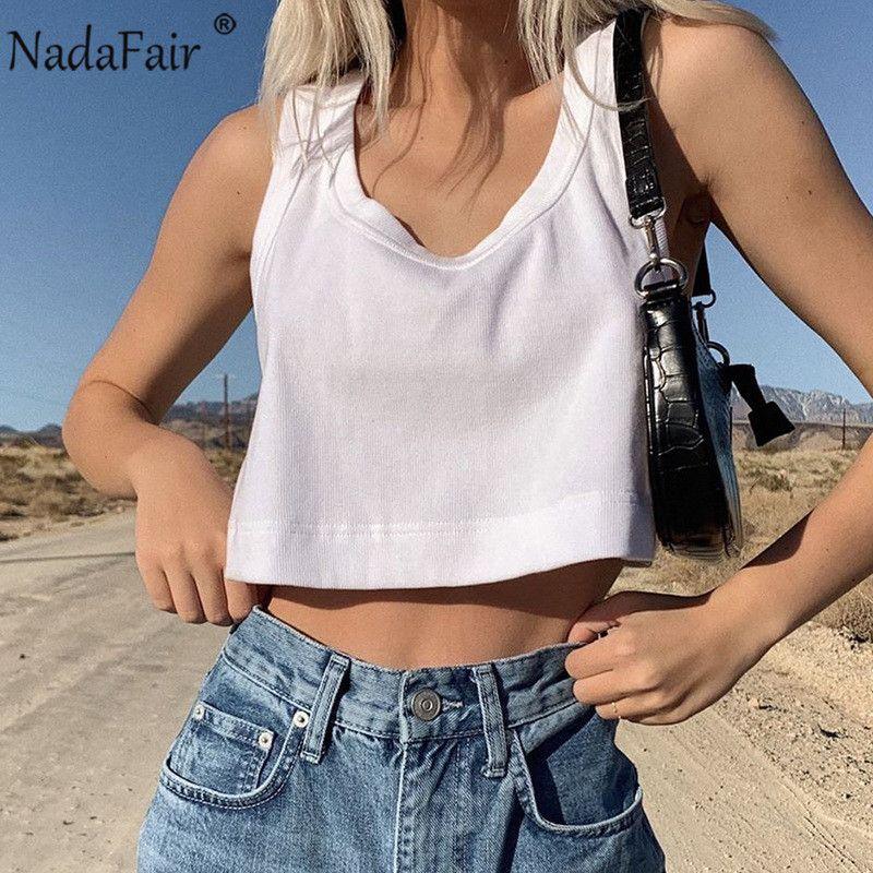 Nadafair o cou blanc sexy culture tops femmes 2020 été i-back fitness hauts tops en vrac côtelé casse-bases de base femme dravr