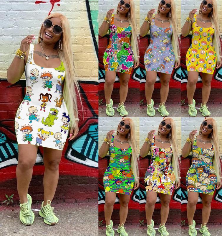 Femmes Femmes Sans Manches Robe d'été Sans manches Mini jupe Une pièce Robe de haute qualité Mode Cardigan Cardigan Robe DHL 2235