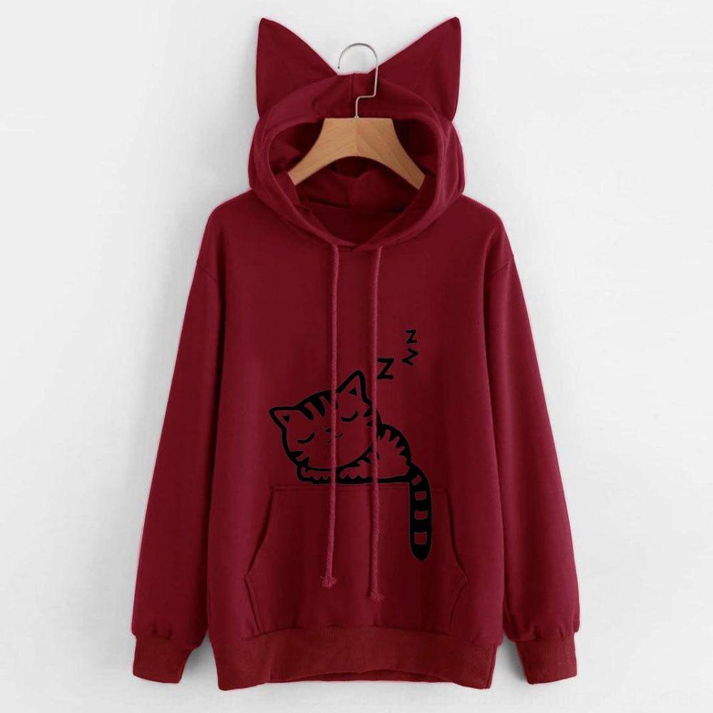 6jNyx caliente venta otoño suelta impresa otoño caliente de la venta del suéter encapuchado de lana suelta impresa gato gato de lana de lana jersey de lana con capucha