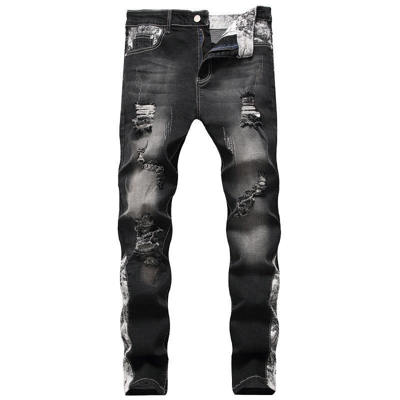 Mens jeans rasgados estiramiento Negro Azul Slim Fit moda de la calle Jean destruidos Homme desgastaron Hip Hop Vaqueros Casual