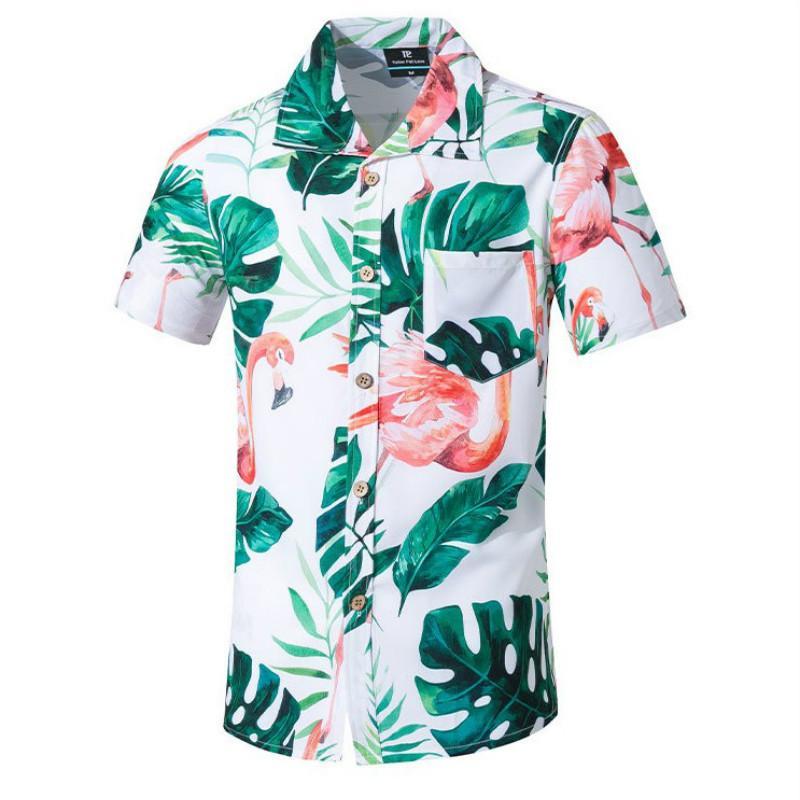 Erkekler için Erkek Kısa Kollu Gömlek Hawaii Stil Moda Gömlek Hızlı Kurutma Yumuşak Artı boyutu Asya Boyut M-5XL Yaz Casual Çiçek Plaj Gömlek