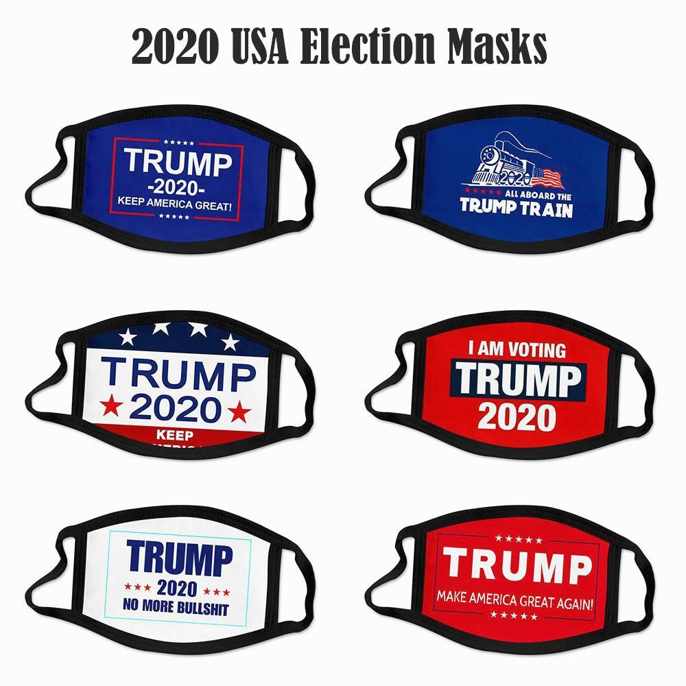 2020 Wahl Trump Cotton Gesichtsmasken Keep America Great Again Biden Partei-Schablonen-Antistaub-Pollution waschbar atmungsaktiv Mundschutz