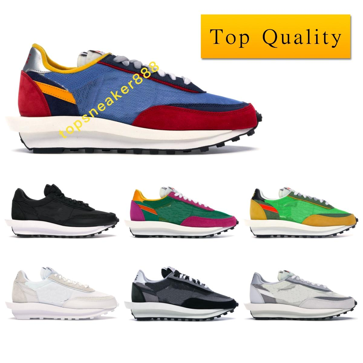 LD Waffle Sacai Blue Multi Sneaker Sport Shoes Man Nedensel Ayakkabı Üst Kalite Siyah Naylon Zirve Beyaz Mavi Çoklu Sneaker ile Kutu Boyutu 36-46
